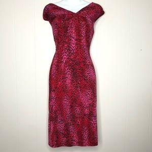 TAHARI Red Pink Animal Print Dress Size 8